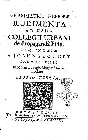 Grammaticae hebraeae rudimenta ad usum collegii urbani: Jean Bouget