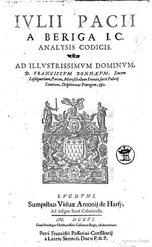 Iulij Pacij a Beriga I.C. Opera theorica: Giulio Pace
