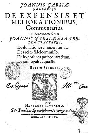 Joannis Garsi Galleci JC. De expensis et: Juan Garcia Gallego