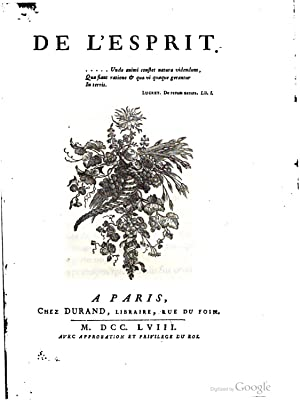 De l'esprit [by C.A. Helvétius]. [Reprint]: Claude-Adrien Helvétius
