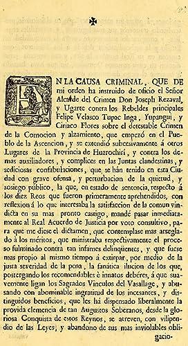 En la causa criminal, que de mi: Peru (Viceroyalty). Real