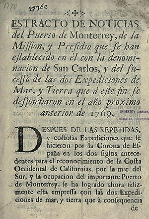 Estracto de noticias del puerto de Monterrey,: Imprenta del Superior