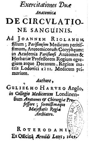 Exercitationes duae anatomicae de circulatione sanguinis. Ad: William Harvey