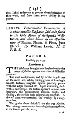Experimental Examination of a White Metallic Substance: Lewis, William