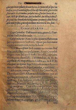 Francisci Hotomani iurisconsul. Commentarius in duos Digestorum: François Hotman