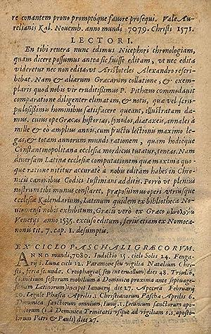 Chronologia tripertita ex beato Nicephoro episcopo Constantinopolitano: Nicephorus