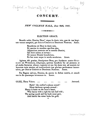 Concert. New College Hall, June 29th, 1827.: New College (University