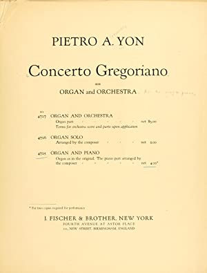 Concerto gregoriano : for organ and orchestra: Yon, Pietro Alessandro,