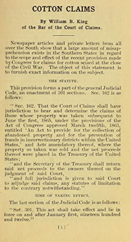 Cotton claims (1911) [Reprint]: King, William B.