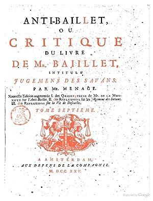 Critique du livre de mr. Baillet, intitule': Gilles MÃ nage