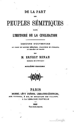 De la part des peuples sémitiques dans: Joseph Ernest Renan