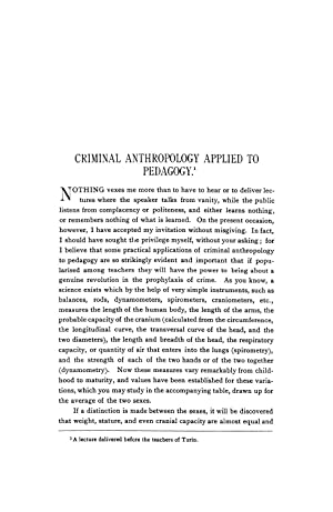 CRIMINAL ANTHROPOLOGY APPLIED TO PEDAGOGY [Reprint] Volume: Lombroso, Cesare