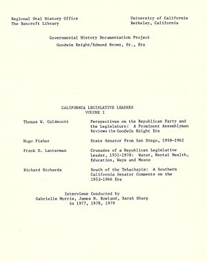California Legislative Leaders : oral history transcript: Bancroft Library. Regional