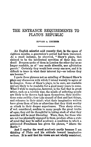 The Entrance Requirements to Plato's Republic (1917): Thurber, Edward A.
