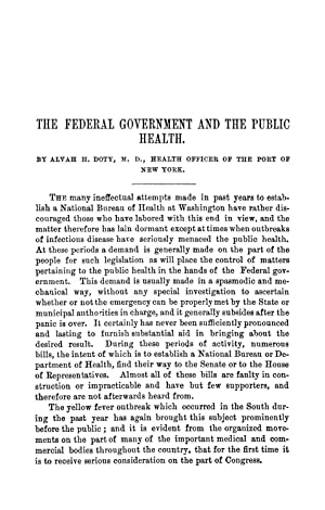 The Federal Government and the Public Health: Doty, Alvah H.