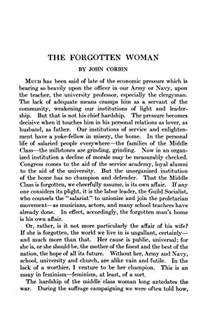 The Forgotten Woman (1922) (Volume: 216) [Reprint]: Corbin, John