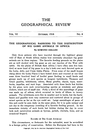 The Geographical Barriers to the Distribution of: Heller, Edmund