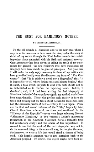 The Hunt for Hamilton's Mother [Reprint] Volume: Atherton, Gertrude