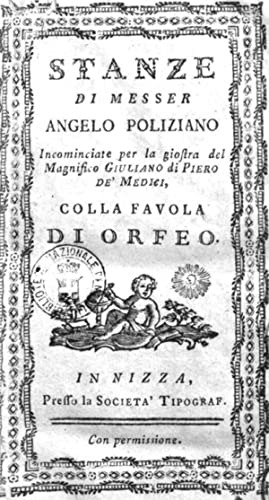 Stanze di messer Angelo Poliziano incominciate per: Angelo Poliziano