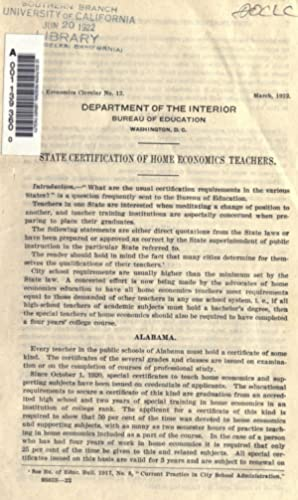 State certification of Home Economics teachers (1922): United States. Bureau