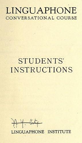 Students' instructions to the Linguaphone language record: Linguaphone Institute