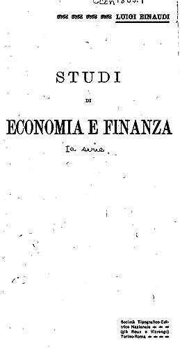 Studi di economia e finanza [Reprint]: Luigi Einaudi
