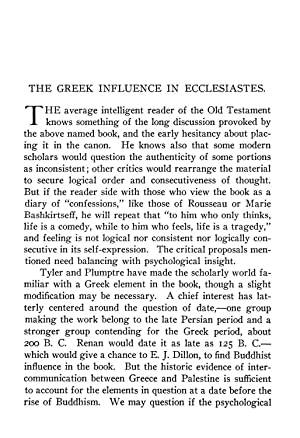 THE GREEK INFLUENCE IN ECCLESIASTES [Reprint] Volume: Godbey, A. H.
