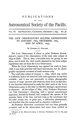 THE LICK OBSERVATORY ECLIPSE EXPEDITIONS OF JANUARY,: Holden, Edward S.