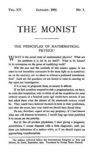 THE PRINCIPLES OF MATHEMATICAL PHYSICS [Reprint] Volume: Poincaré, Henri