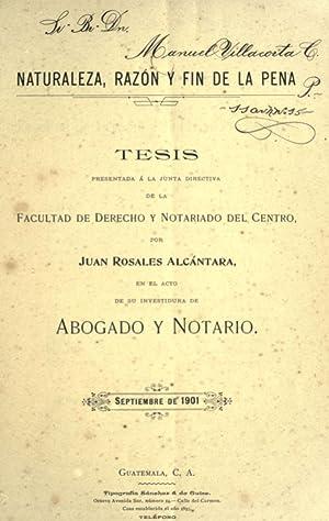 Tesis Naturaleza, Razà n y Fin de: Rosales Alcántara, Juan