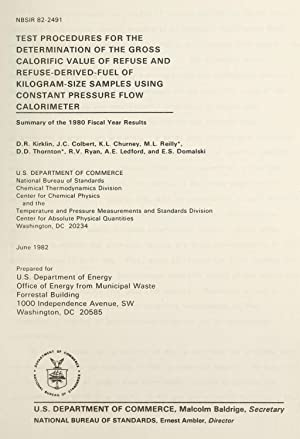 Test procedures for the determination of the: Kirklin, D. R.,Colbert,