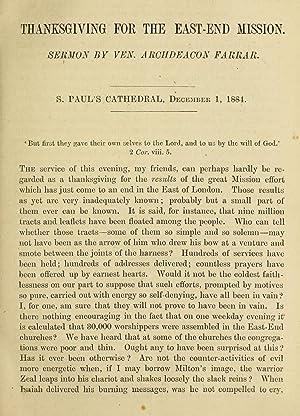 Thanksgiving for the East-End Mission : sermon: Farrar, F. W.