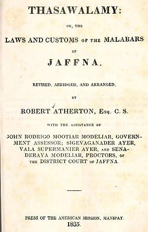Thasawalamy, or, The laws and customs of: Atherton, Robert