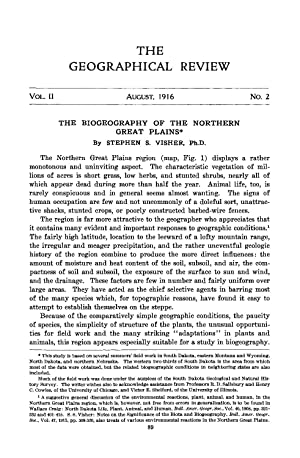 The Biogeography of the Northern Great Plains: Visher, Stephen S.