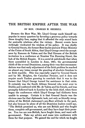 The British Empire after the War [Reprint]: Sherrill, Charles H.