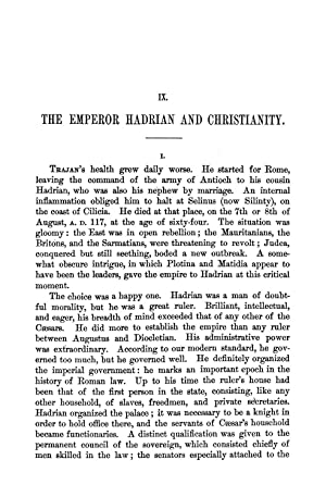 The Emperor Hadrian and Christianity [Reprint] Volume: Rénan, Ernest