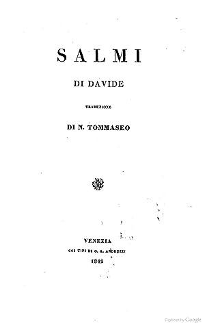 Salmi di Davide traduzione di N. Tommaseo