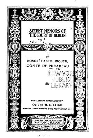 Secret Memoirs of the Court of Berlin: Gabriel-Honoré de Riquetti