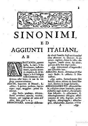 Sinonimi ed aggiunti italiani, raccolti dal Padre: Carlo Costanzo Rabbi