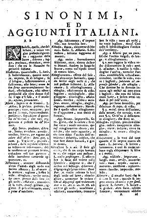 Sinonimi ed aggiunti italiani, raccolti dal Padre
