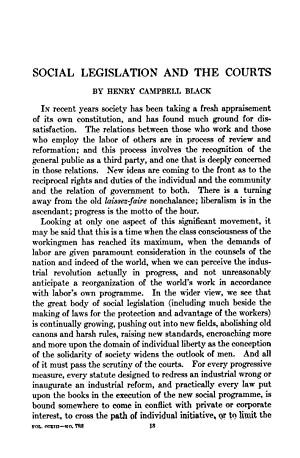 Social Legislation and the Courts [Reprint] Volume: Black, Henry Campbell