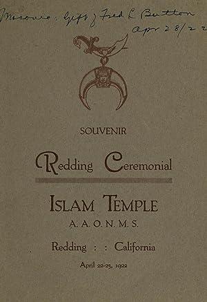 Souvenir, Redding Ceremonial, Islam Temple, A.A.O.N.M.S., Redding,: Ancient Arabic Order