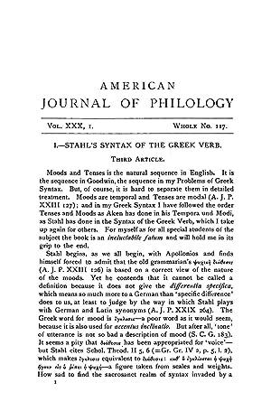 Stahl's Syntax of the Greek Verb: Third: Gildersleeve, Basil L.