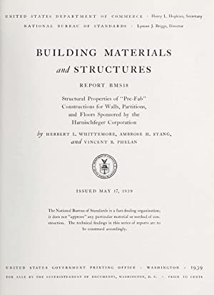 """Structural properties of """"Pre-Fab"""" constructions for walls,: Whittemore, Herbert L.,Stang,"""