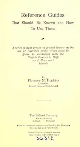 Reference guides that should be known and: Hopkins, Florence May,