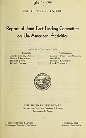 Report of Joint Fact-Finding Committee on Un-American: California. Legislature. Joint