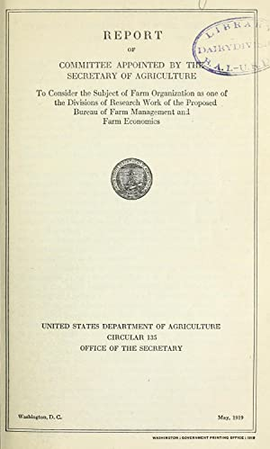 Report of committee appointed by the Secretary: United States. Department