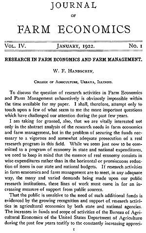 Research in Farm Economics and Farm Management: Handschin, W. F.