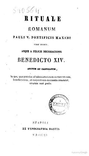 Rituale Romanum Pauli V. pontificis maximi jussu: Chiesa cattolica