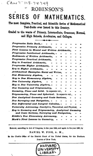 Robinson's Progressive Practical Arithmetic: Containing the Theory: Horatio Nelson Robinson,